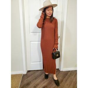 Asos Rust Orange Ribbed Long Sleeve Shift Dress